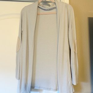 Sweaters - Striped Cardigan - light grey